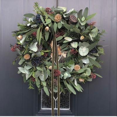 "12"" Wreath (Dark green ribbon) - £45"