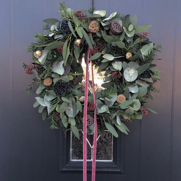 "12"" Wreath (Berry ribbon) - £45"
