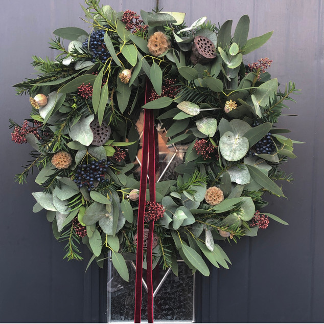 "12"" Wreath (Wine red ribbon) - £45"