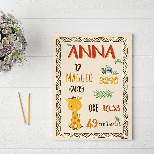 Carte Nascita - Tema Africa -Personalizzata