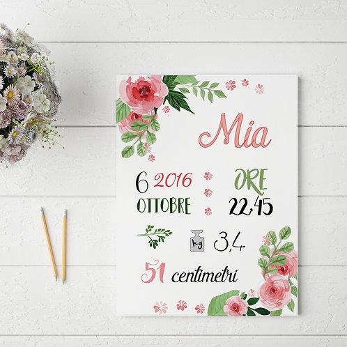 Carte Nascita - Bambina -Personalizzata