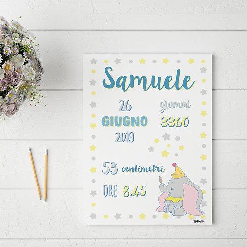 Carte Nascita - Tema Dumbo -Personalizzata