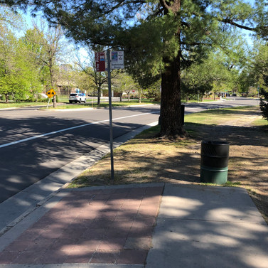 The platform at this stop is sloped downward and only accessible via sidewalk from the south (note that the path on the northern side is dirt and crossed with tree roots). Additionally, it lacks seating.