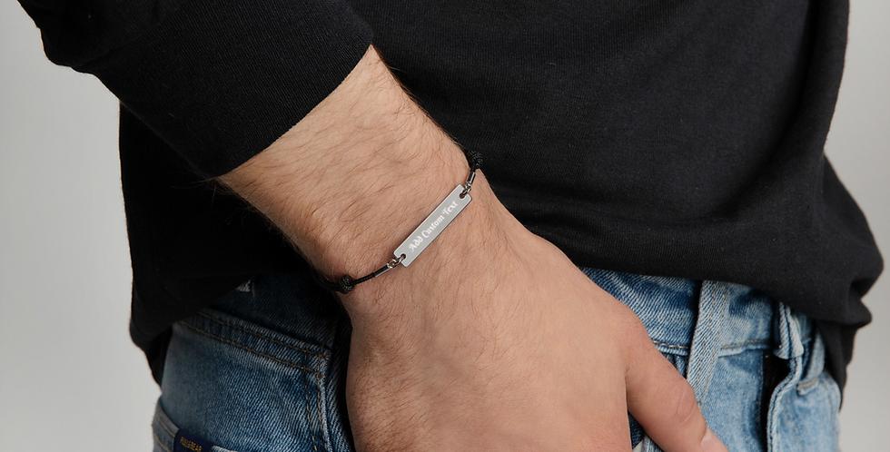 Custom Engraved Silver Bar String Bracelet