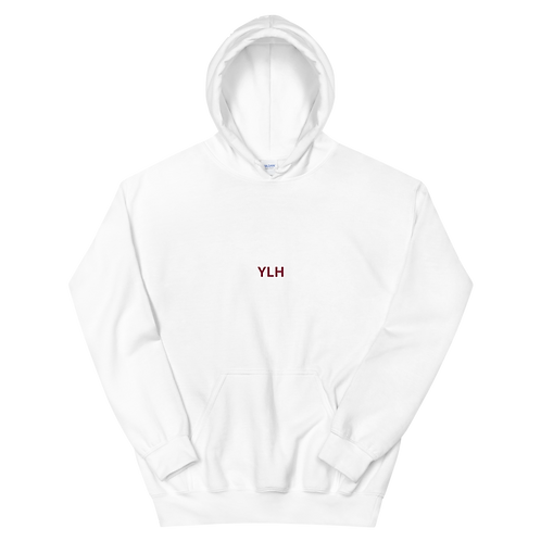 YLH - Unisex Hoodie (white) (red font)