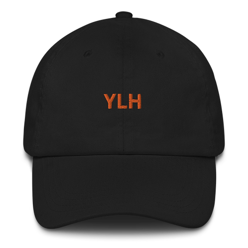 YLH - Black Dad hat (orange font)