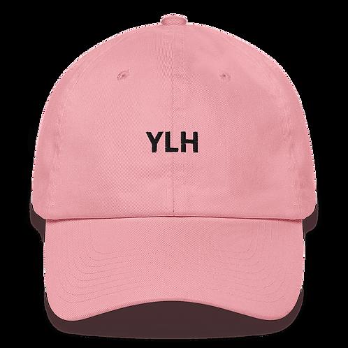 YLH - Pink Dad hat (black font)