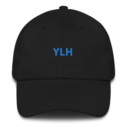 YLH - Black Dad hat (blue font)