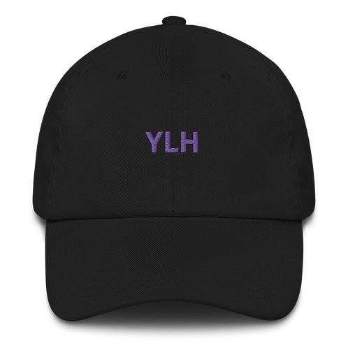 YLH - Black Dad hat (purple font)