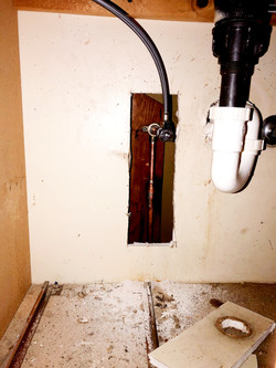 Soldered fix to corroded pipe in bathroom vanity