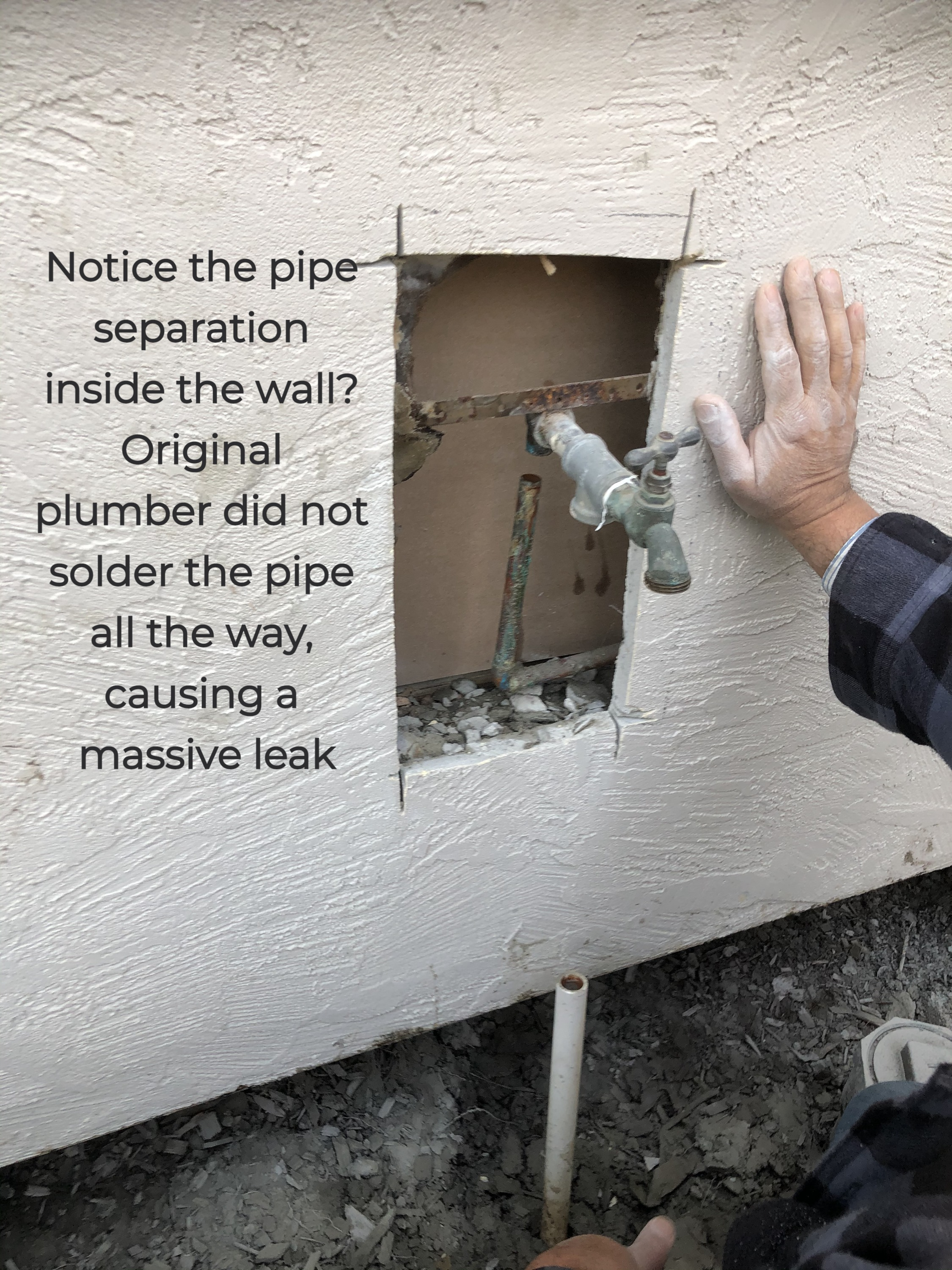 Water line detached from hose bib inside the wall!