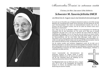 Schwester M. Xaveria Jelitzka SMCB verstorben