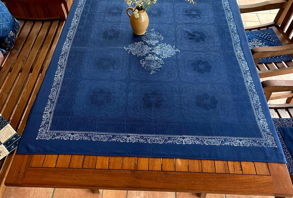 Blaudruck Damast Tischdecke