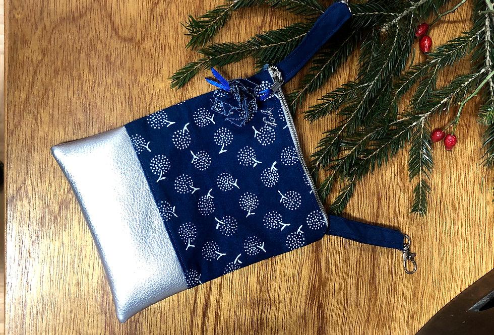 Smartphone Tasche Silber-Blau