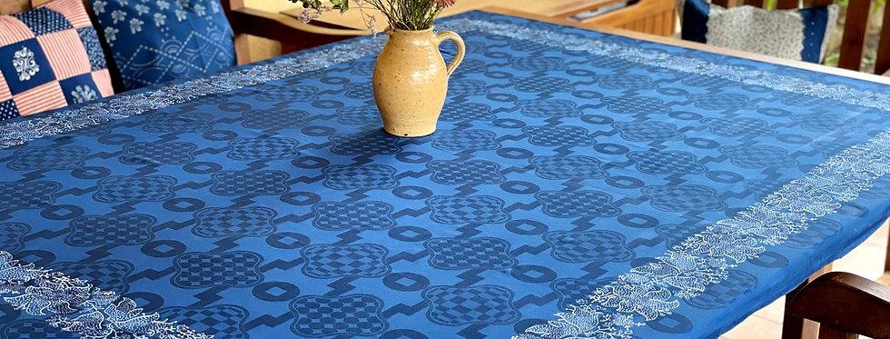 Blaudruck- Damast -Tischdecke
