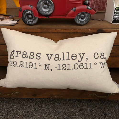 Coordinates Pillow w/ Insert - Nevada County