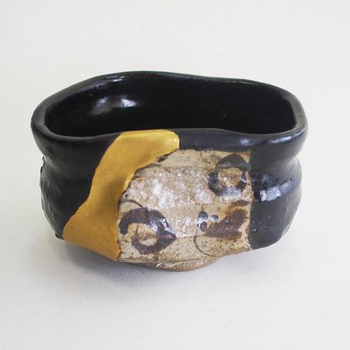 No.026 Black Oribe Chawan (Tea Bowl) Shoe Shape