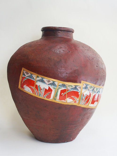"No.028 Bizen and Old Imari Color Picture ""Otsubo"" Big Flower Container"