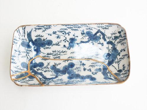 No.017 Old Imari Blue and White Square Plate