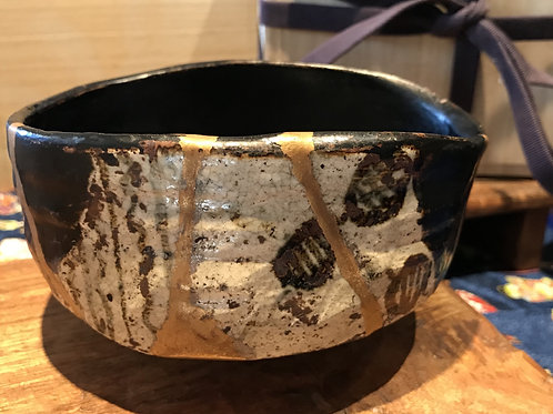 No.030 Black Oribe Chawan (Tea Bowl) Shoe Shape