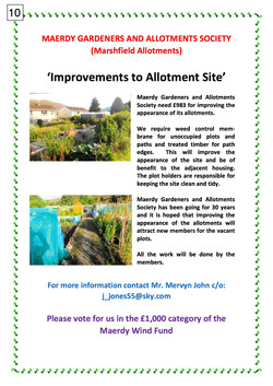 10. MAERDY GARDENERS AND ALLOTMENTS SOCIETY - POSTER - 140917