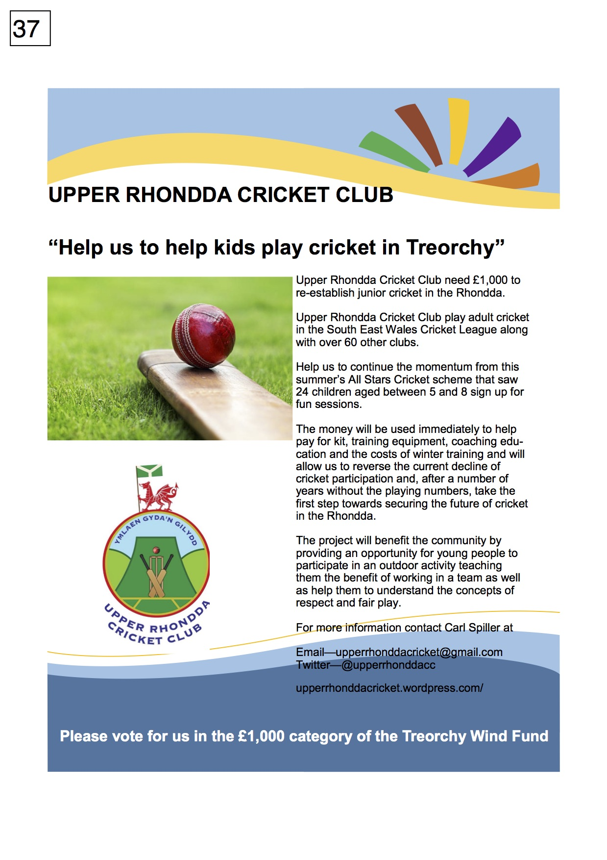37. Upper Rhondda Cricket Club - Poster - 300917