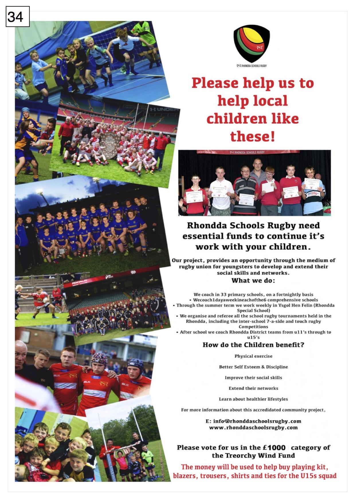 34. Rhondda Schools Rugby - Poster - 300917