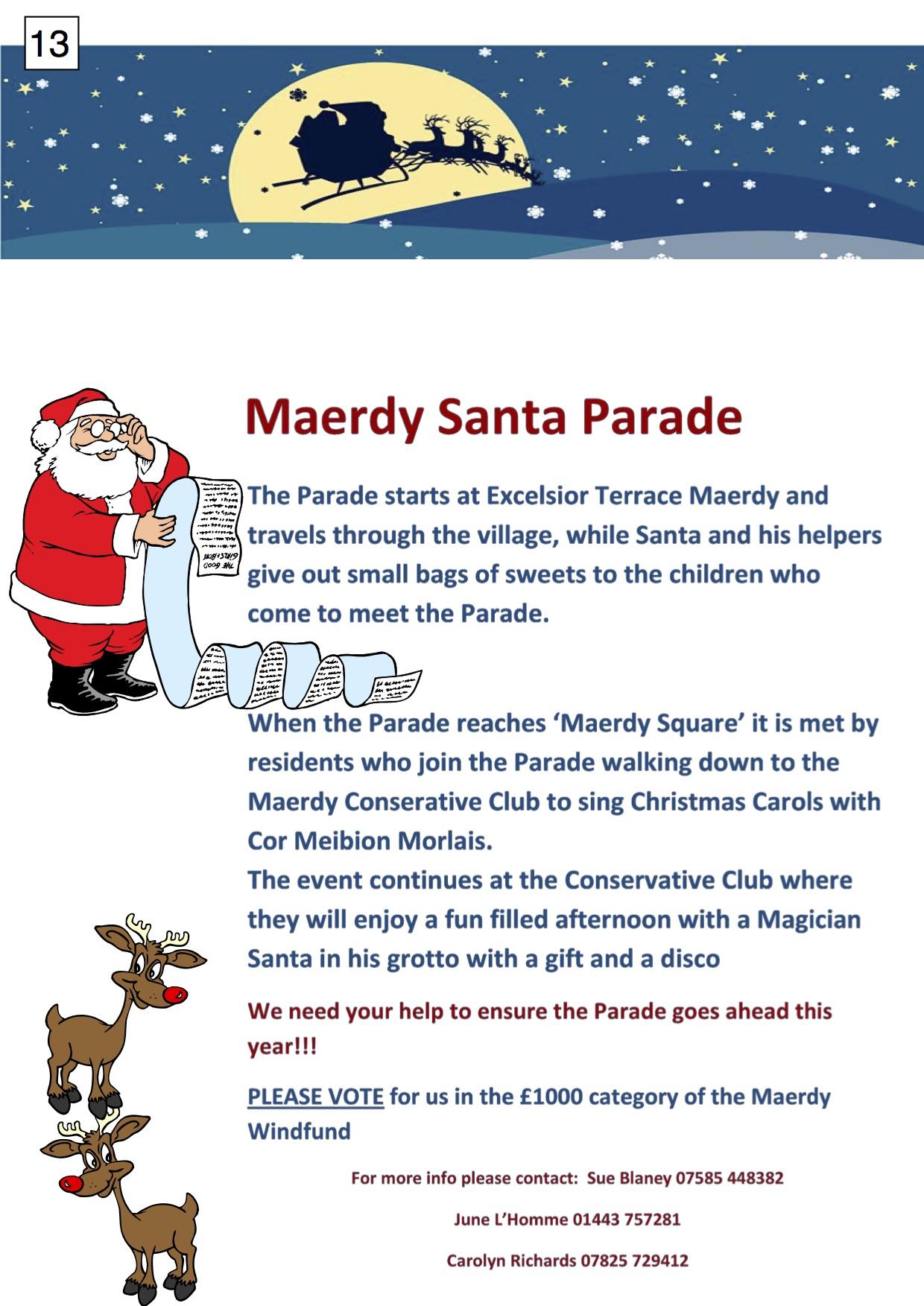 13. Maerdy Santa Parade - poster - 291017