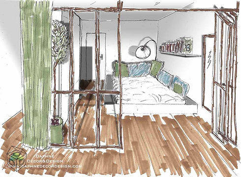Croquis chambre home staging