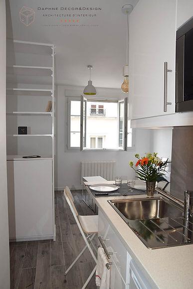 rénovation studio vue de la cuisine ouverte