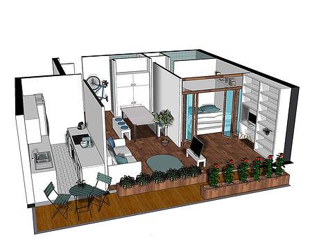 Home staging - Vue 3D terrasse