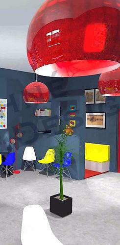 vue 3D de l'espace enfants dans un centre dédié à la santé