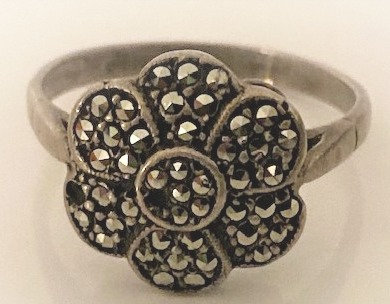 925 Silver Marcasite Ring Size R