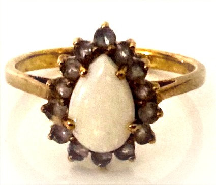 9ct Gold Opal & Tanzanite Stones Ring Size O/P