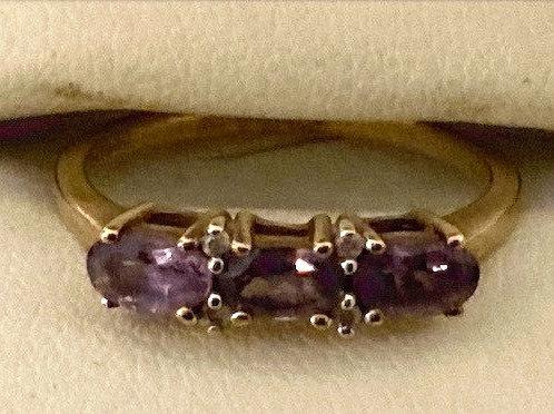 9ct Gold Amethyst & Diamond Ring Size N