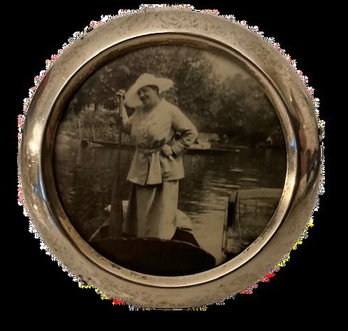 HM Silver Round Photo Frame, London C1868