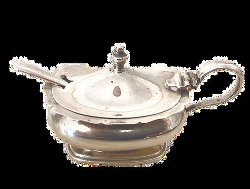 HM Silver Mustard Pot Birmingham 1948 & Spoon