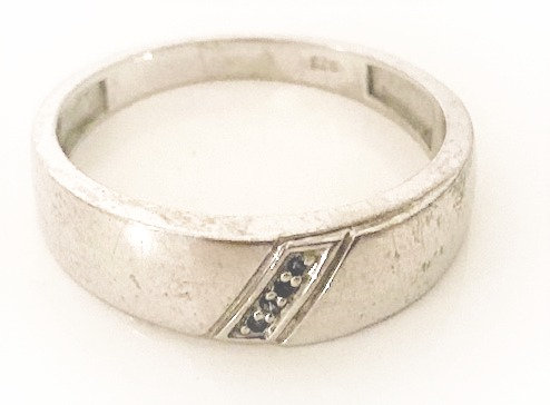 925 Silver Mens Love Ring with Sapphires Size U/V