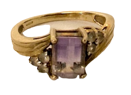 9ct Gold Bi-colour Amethyst & Topaz ring Size N