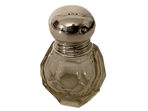 HM Silver Topped Glass Round Bottle, London 1920