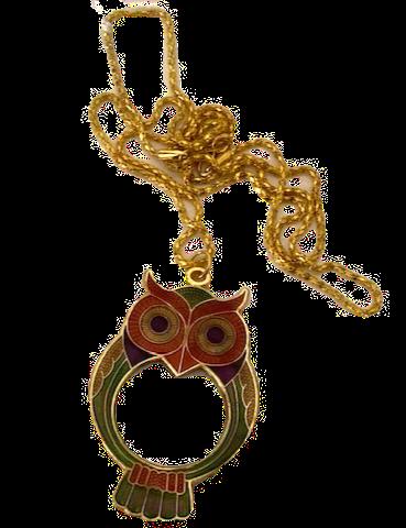 Owl Magnifying Glass on Gilt Chain