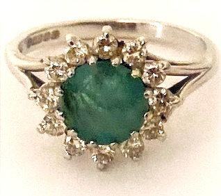 18ct White Gold Stunning Emerald & Diamond Ring Size N