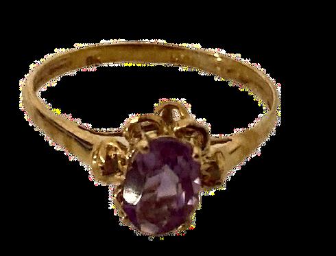 9ct Gold Amethyst & Diamond Ring Size O