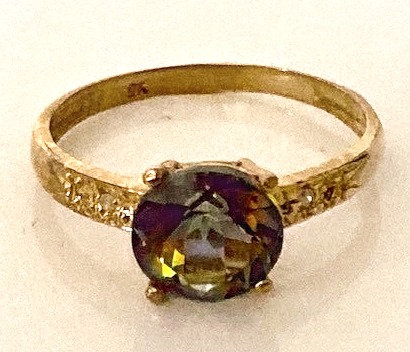 9K Gold Mystic Topaz & Diamond Ring Size N