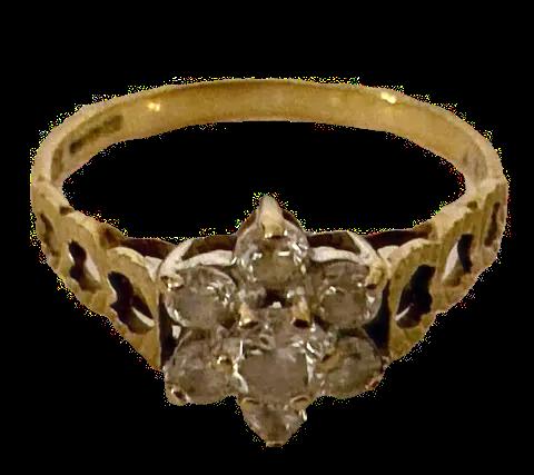 9ct Gold CZ Flower Ring Size K/L