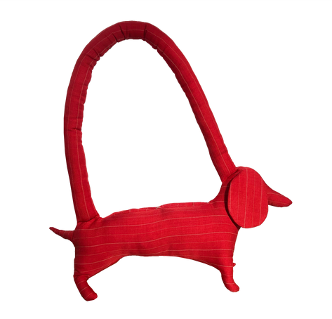mini red pinstripe dog