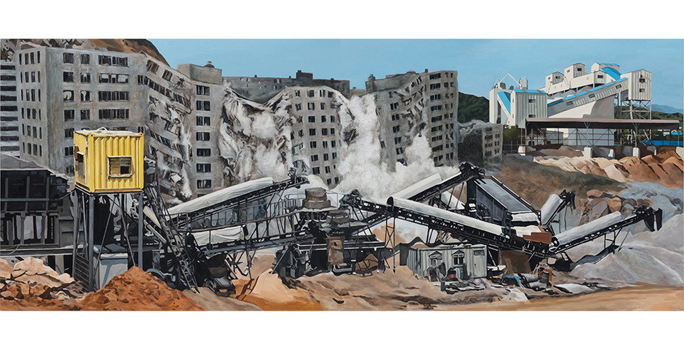 The Life Cycle of Concrete, 2016, oil on canvas, 181.8 x 454.6 cm