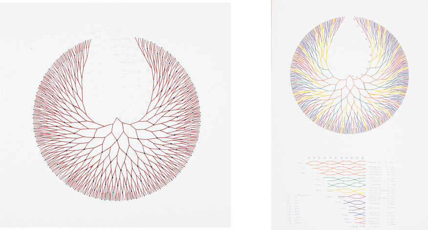 '회로에서-접속'을 위한 드로잉 (Drawing for 'On the Circuit- Connection'), 2011, ink on paper, 47 x 46 cm , 44 x 65 cm