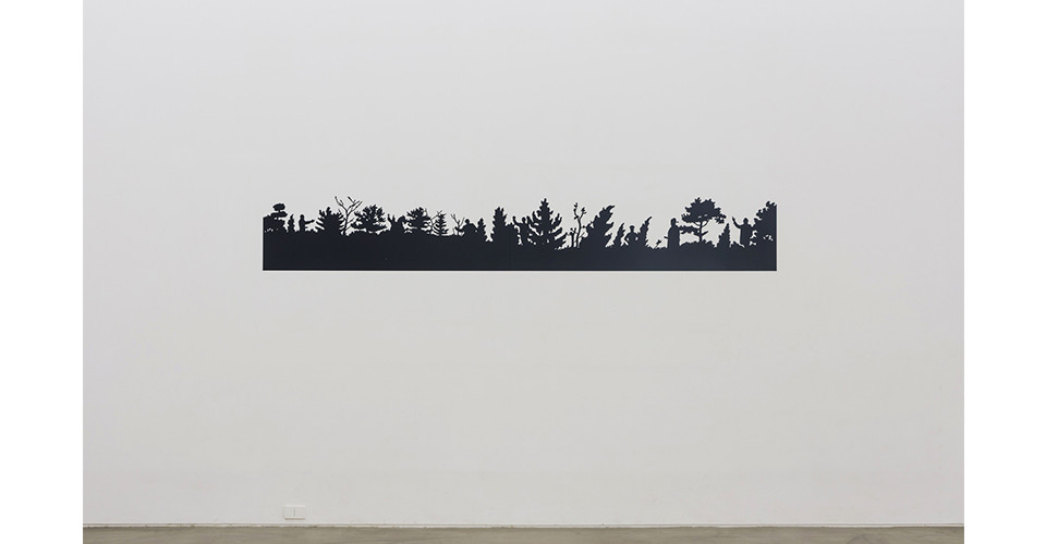 Overlapped times, 2019, steel, powder coating, 44 x 300 cm