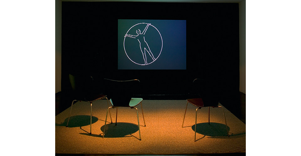 sonogong2, 2005, video animation, chairs, rug, variable dimensions